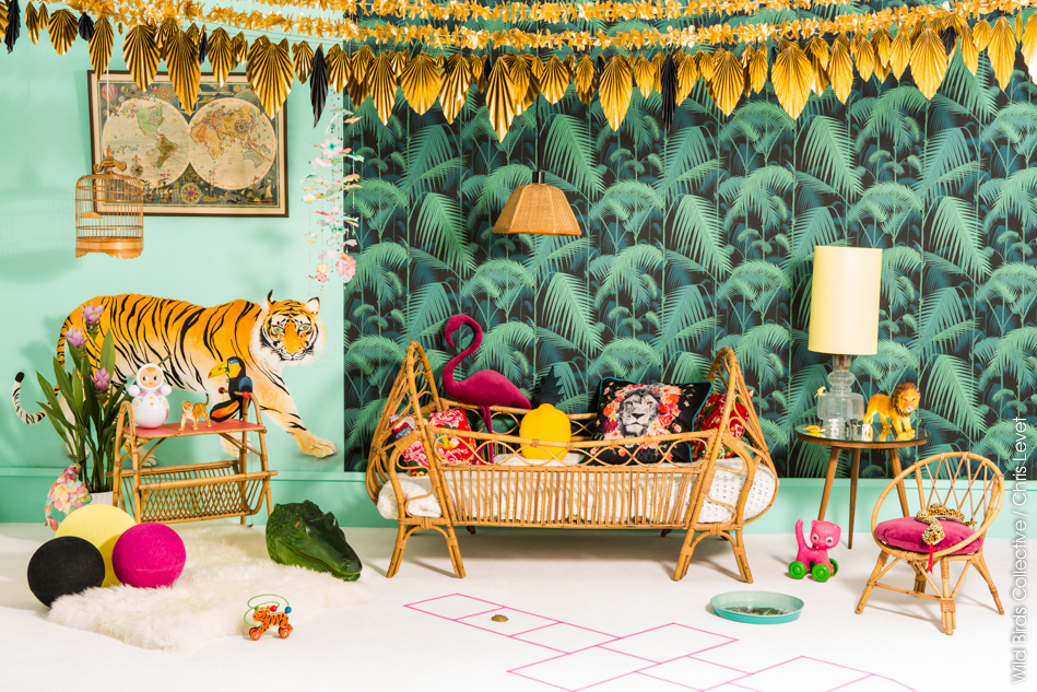 jungle d co tropicale 3 wild birds collective. Black Bedroom Furniture Sets. Home Design Ideas