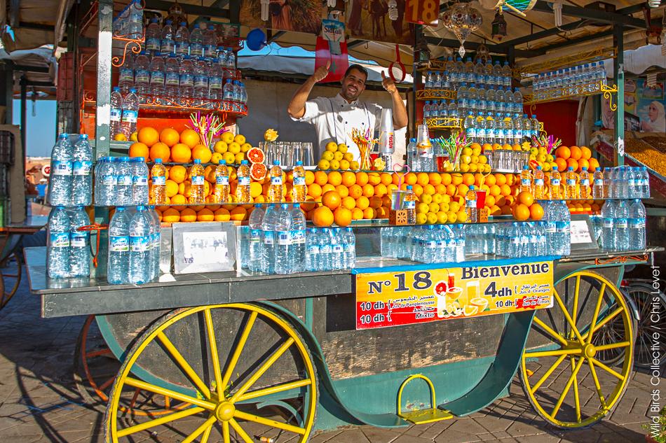 Jus d'oranges place Jemaa el-Fna de Marrakech